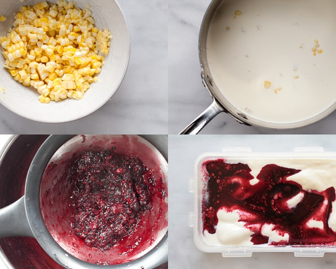 Sweet Corn & Blackberry Ice Cream