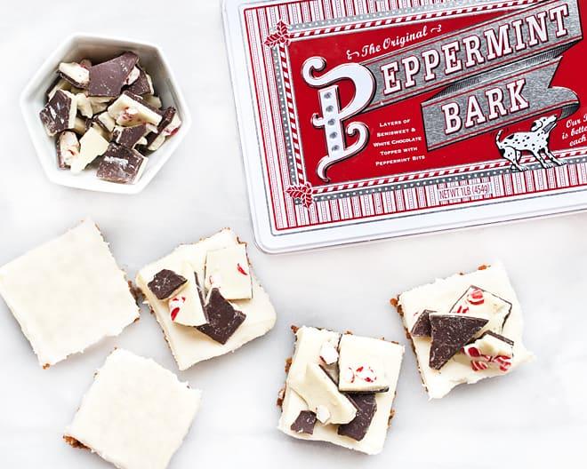 No-Bake Peppermint Bark Ginger Bars
