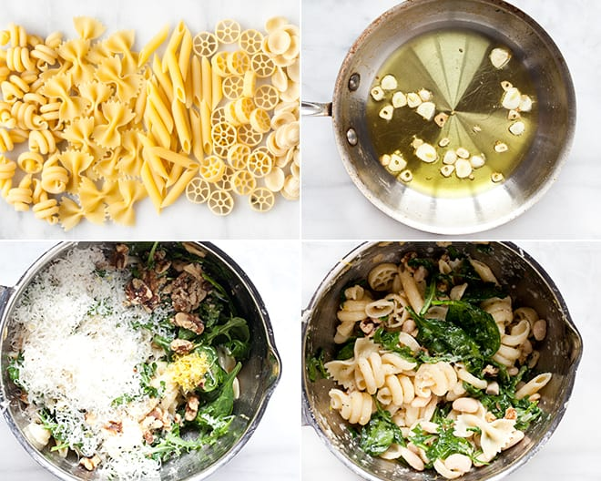 Pasta with Baby Greens, Beans and Walnuts